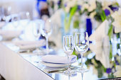 Wedding table setting in the restaurant