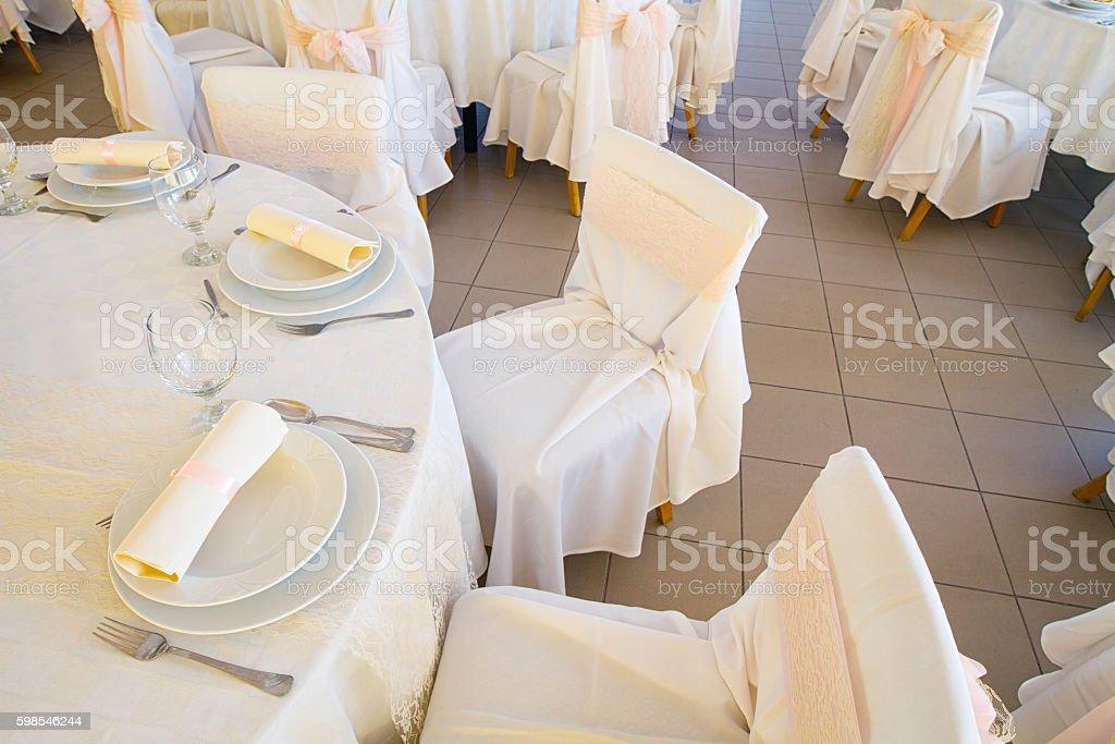 Paramètres de table de mariage photo libre de droits