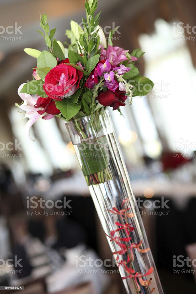 Wedding Table Tall Vase of Flowers royalty-free stock photo