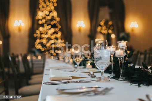 istock Wedding table with christmas tree 1091011292