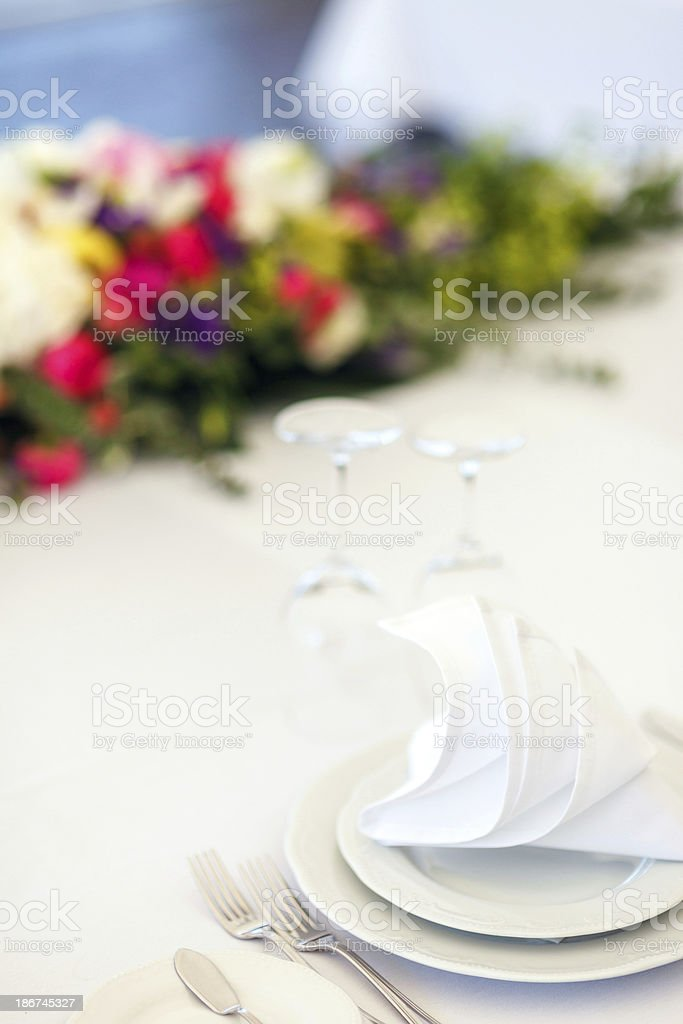 Wedding table with flowers royalty-free stock photo