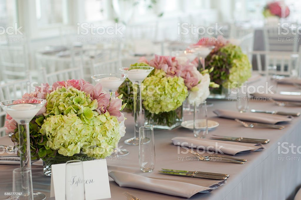 Wedding table with flowers stock photo