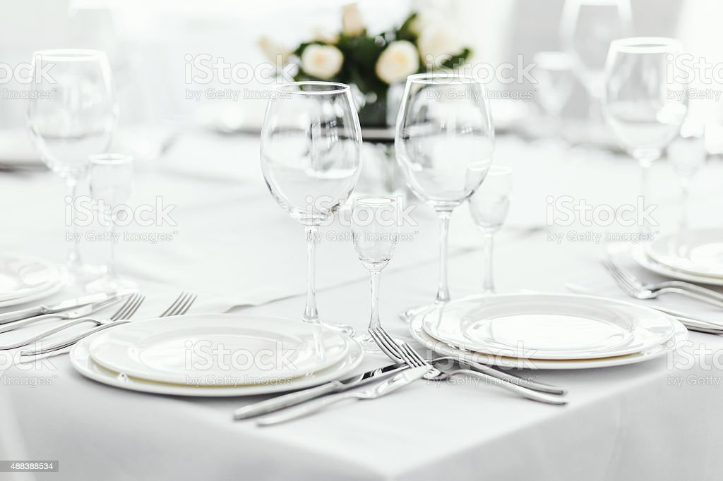 Wedding table with white roses. stock photo