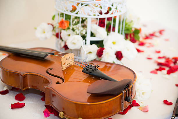 wedding violin floral decoration stock photo