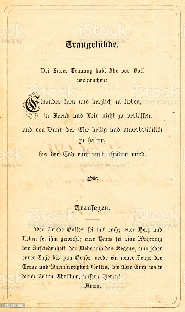 wedding vows and blessing in a german bible from 1895 stock photo