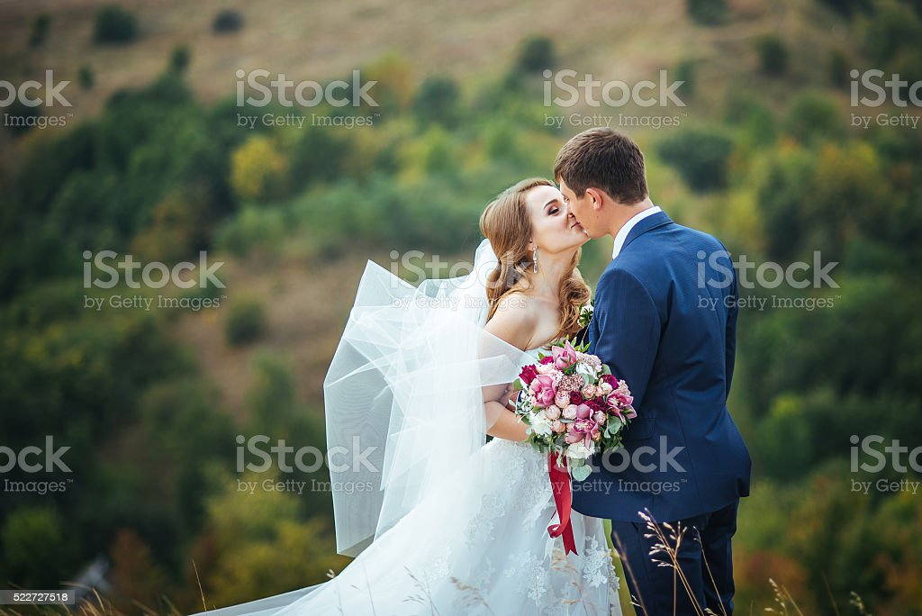 Wedding walk on nature stock photo