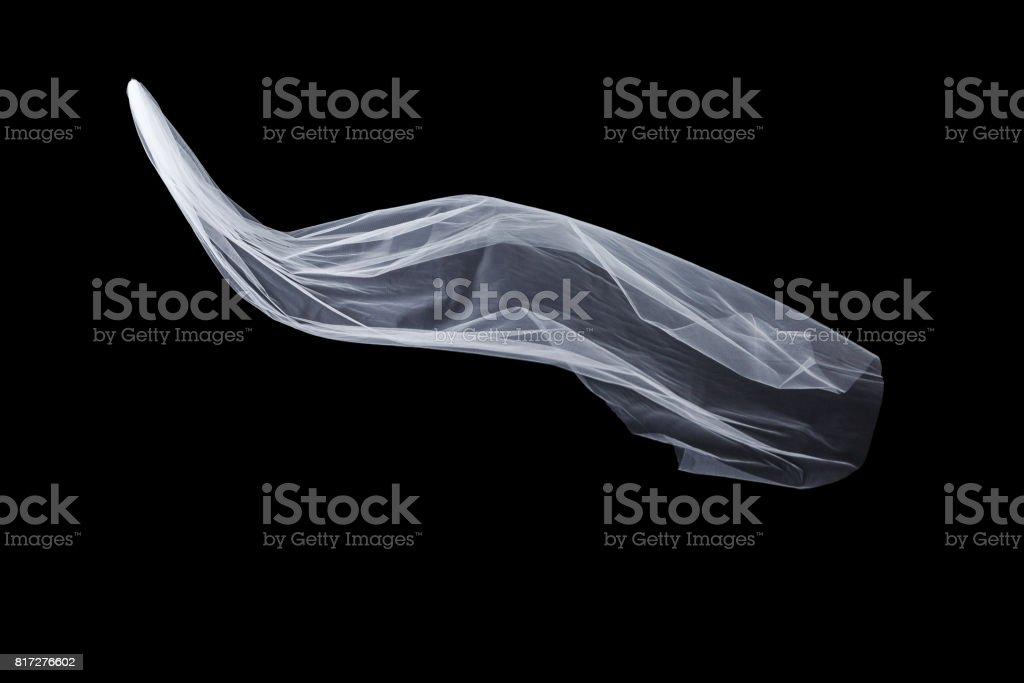 wedding white Bridal veil isolated on black background stock photo