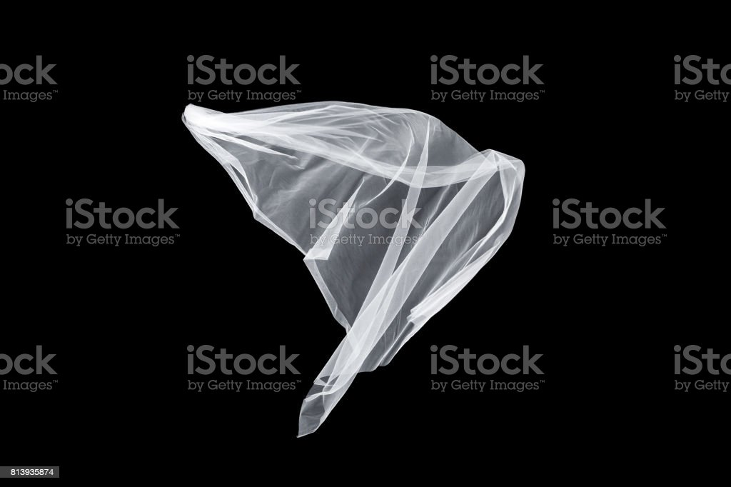 wedding white Bridal veil isolated on black background. veil flutters in the wind stock photo