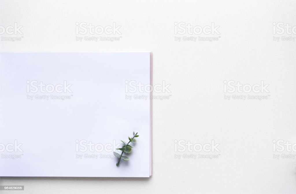Wedding wish book and oregano branches on white marble. Top view royalty-free stock photo