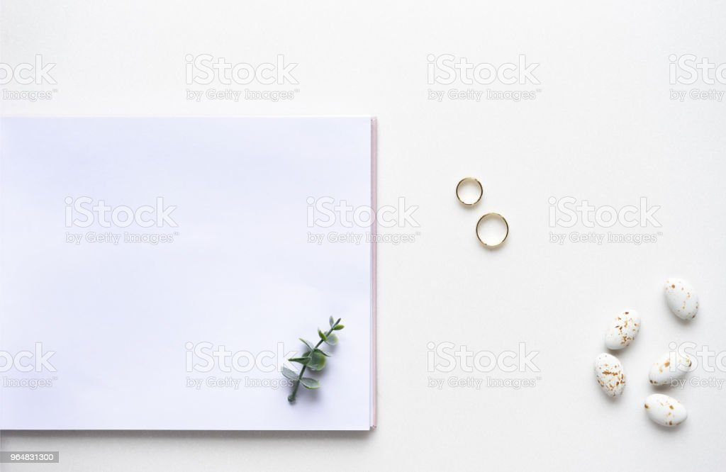 Wedding wish book, candy, weddings rings and oregano branches. Top view. royalty-free stock photo