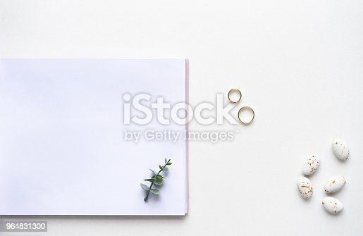 Wedding Wish Book Candy Weddings Rings And Oregano Branches Top View Stock Photo & More Pictures of Blank
