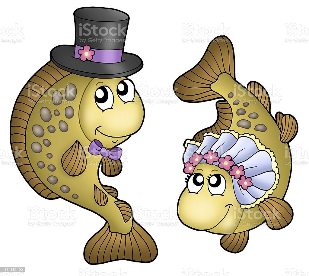 Wedding with cute carps stock photo