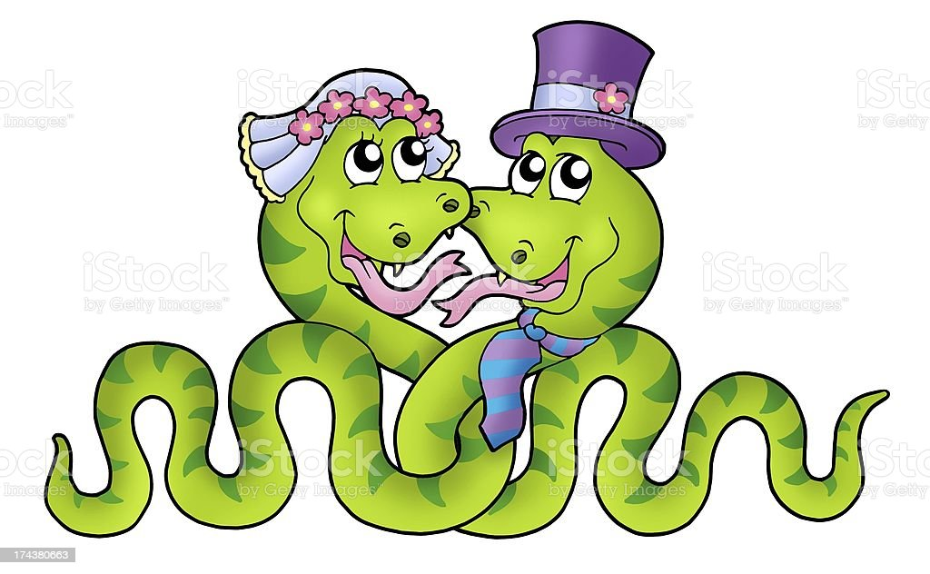 Wedding with cute snakes stock photo