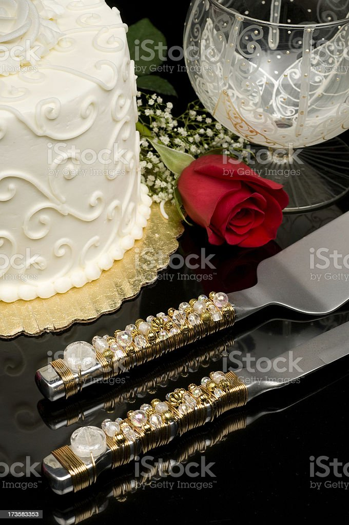 Wedding/Anniversary cake with red rose royalty-free stock photo