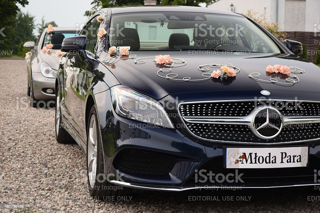 Weddings cars on the street stock photo