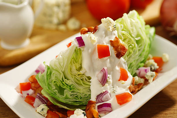 Wedge cabbage salad with several ingredients stock photo