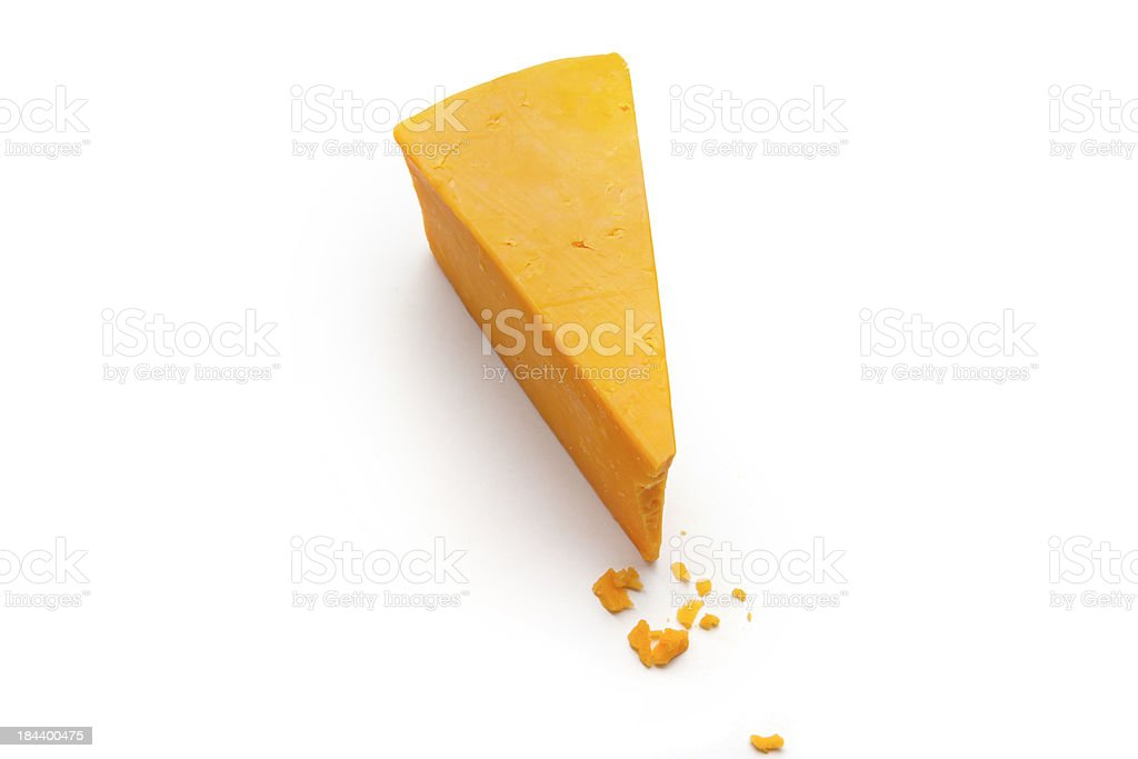 Wedge of Cheddar Cheese stock photo