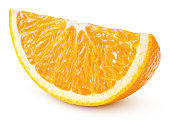 Single slice of orange citrus fruit isolated on white background with clipping path. Full depth of field.