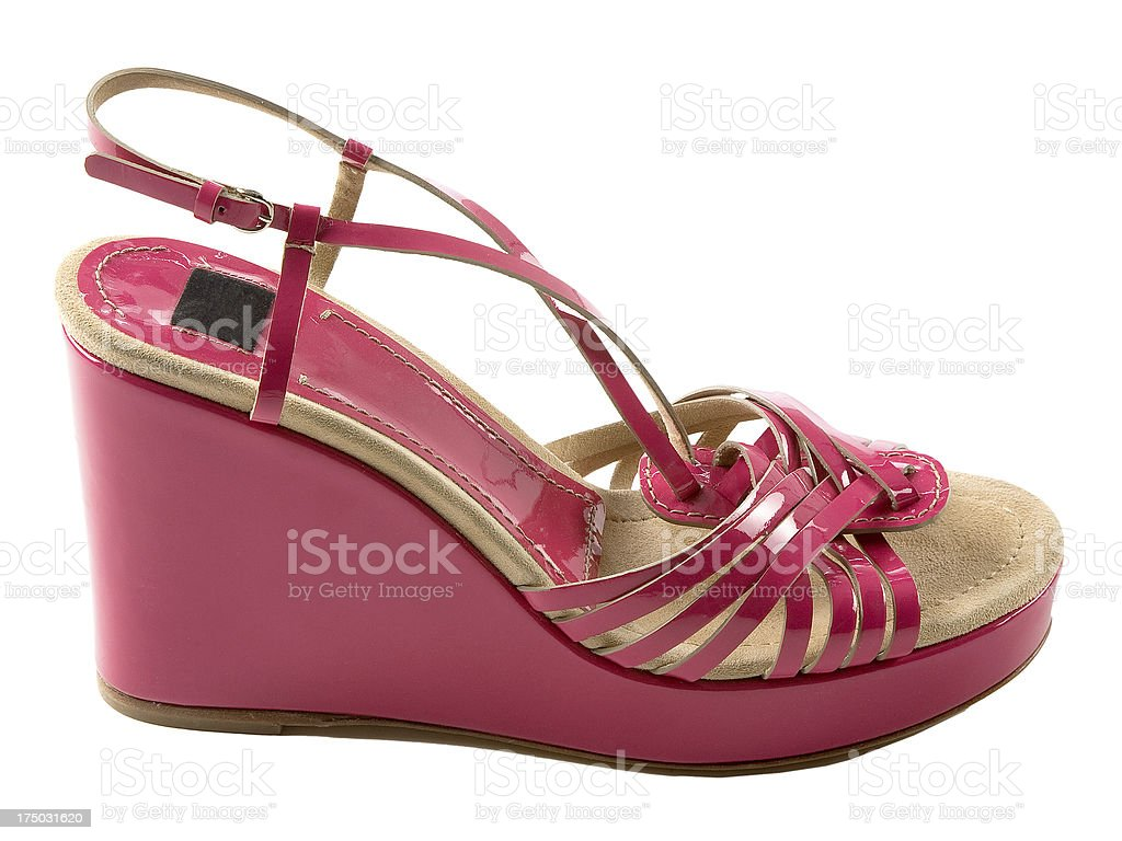 Wedge pink patent leather sandal royalty-free stock photo