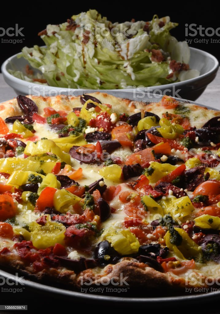 Wedge Salad with Z Pizza Combo stock photo