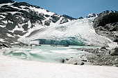 Turquoise-colored lake with spectacular Armchair glacier in Summer