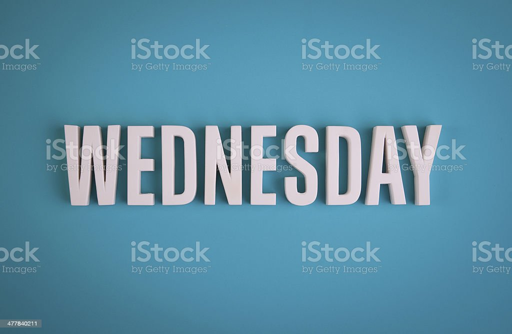 Wednesday sign lettering stock photo
