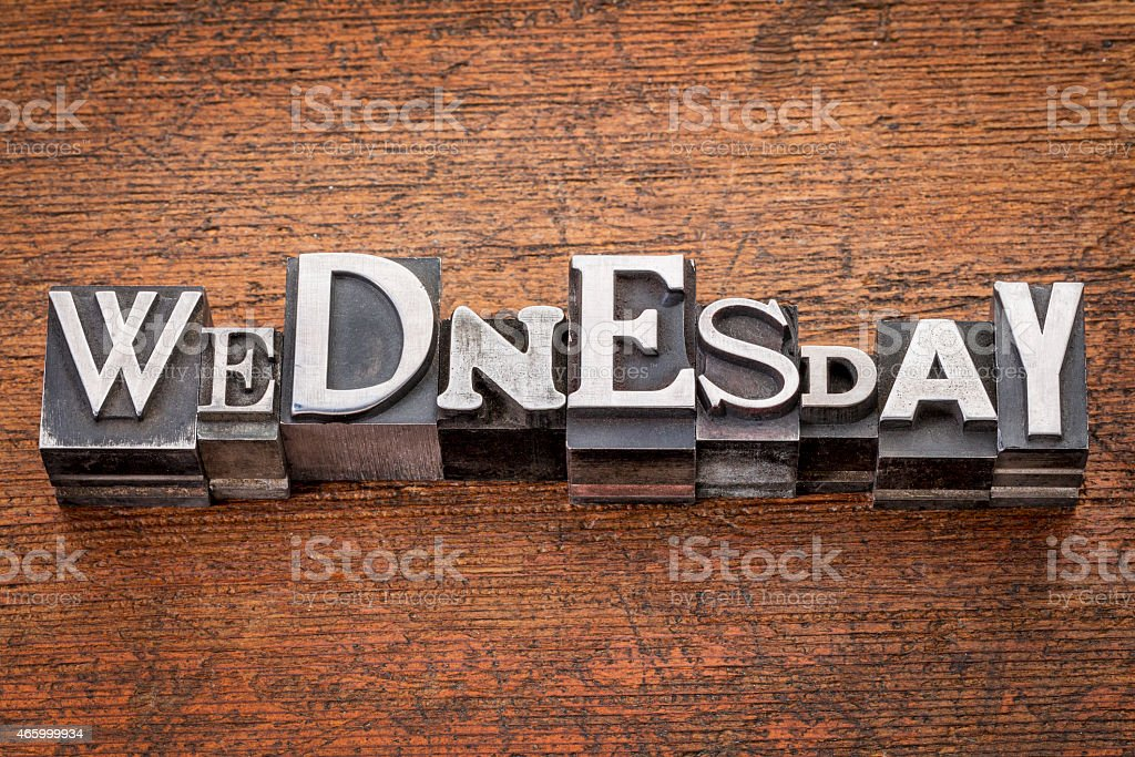 Wednesday word in metal type stock photo