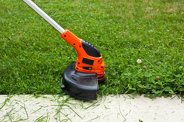 Weed Trimmer Trimming Grass Along Sidewalk Close-up of a string weed trimmer trimming the grass along a concrete sidewalk. hedge clippers stock pictures, royalty-free photos & images