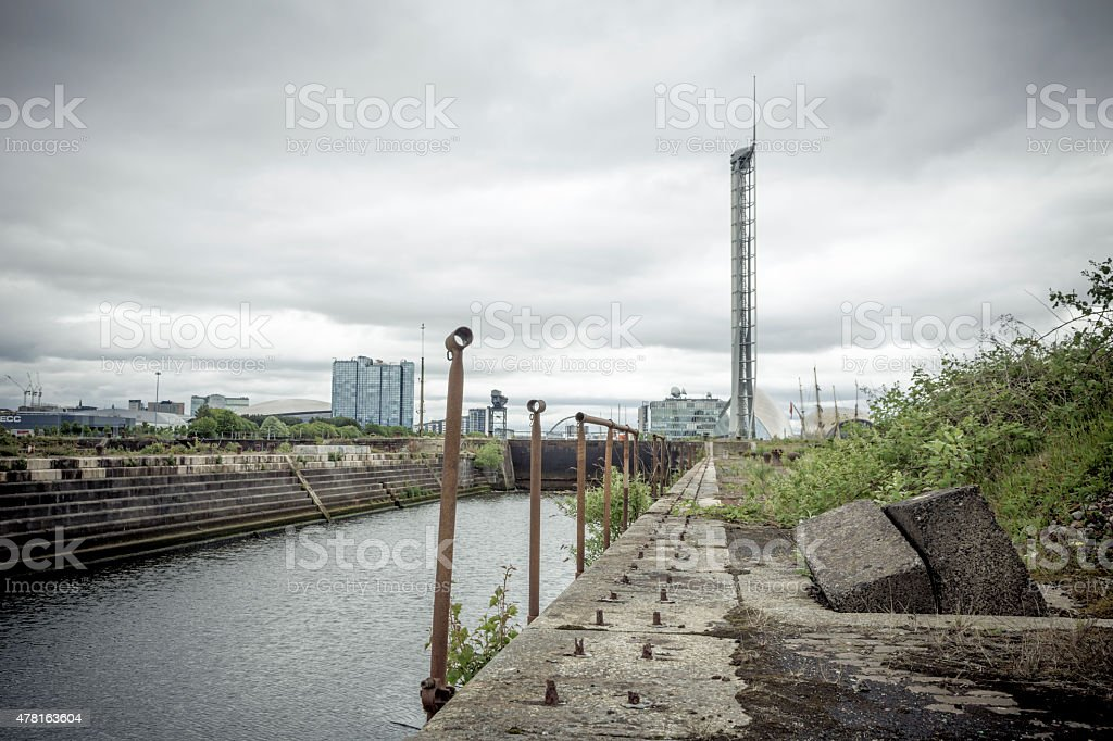 Weeds At The Derelict Graving Docks at Govan, Glasgow stock photo