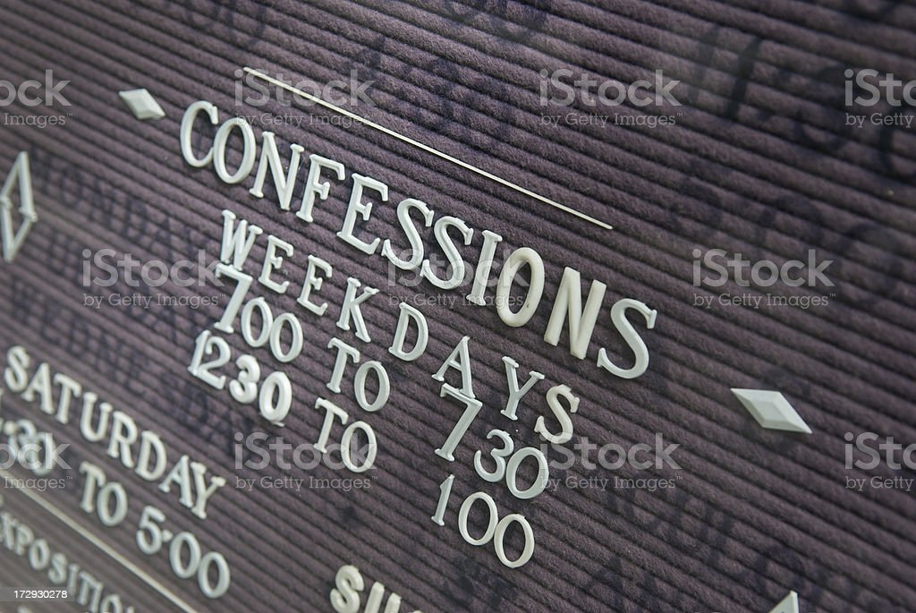 Weekday Confessions Sign On Church stock photo