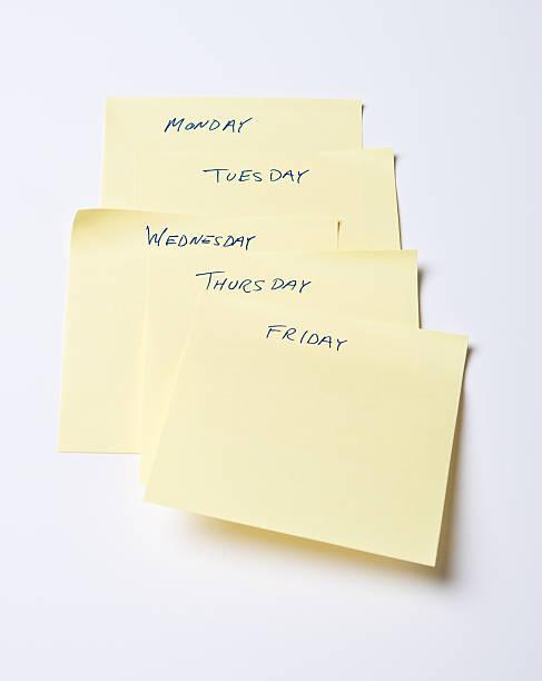 Weekday Sticky Notes stock photo