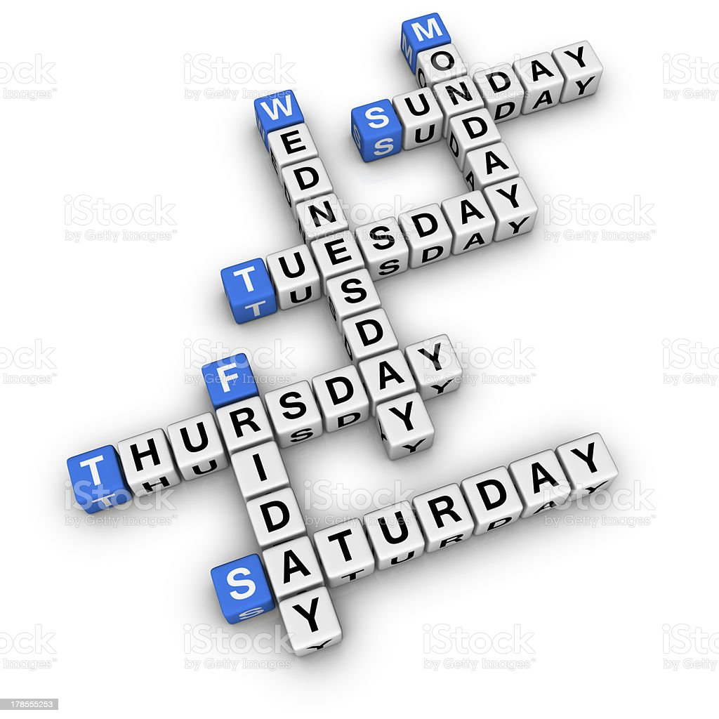 weekdays crossword stock photo