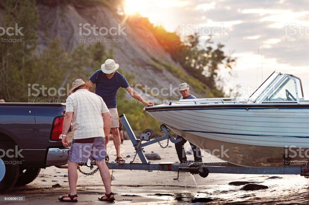 Week-end Activities between senior brothers stock photo