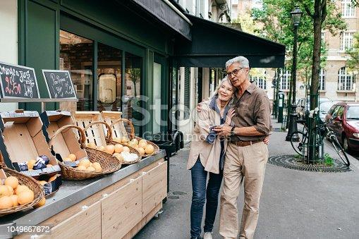 Senior couple visiting France