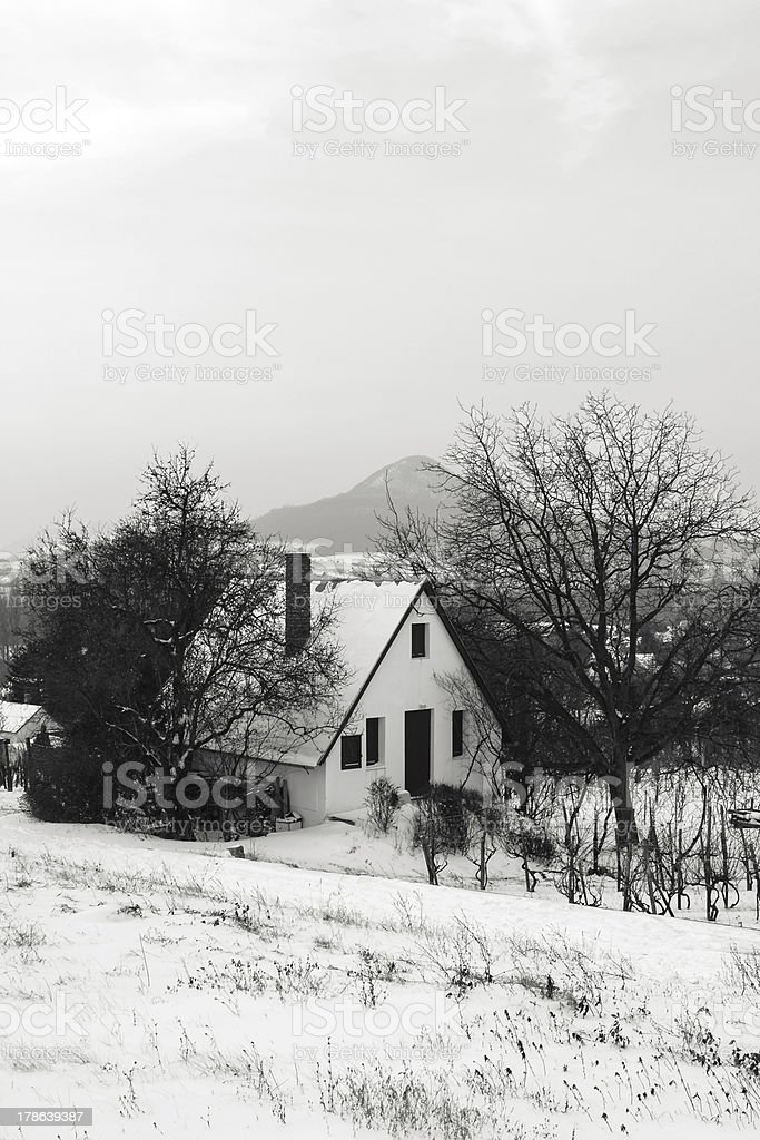 Weekend house in the winter stock photo