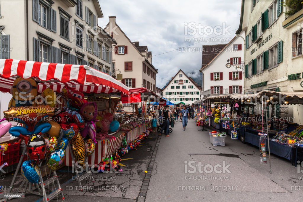 Weekend market in Walenstadt stock photo