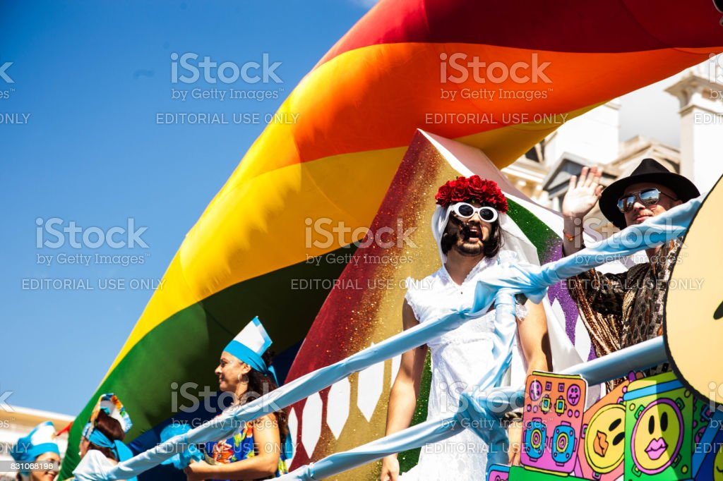 Weekend Pride Brighton, England Brighton, UK - August 05, 2017: Participants in the yearly Pride Parade in Hove and Brighton. The annual Pride Community Parade is the biggest celebration of the LGBT community at Brighton, England. Arts Culture and Entertainment Stock Photo