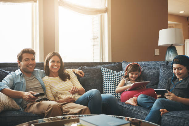 weekends filled with no worries - family room stock photos and pictures