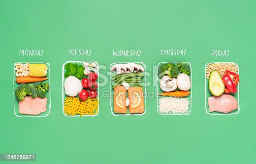 Weekly meal preparation concept with raw food ingredients in chalk-drawn lunch boxes on green background. Prep meals plan for the week. Healthy meals