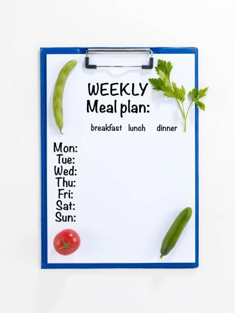 wöchentliche speiseplan - donnerstagnachmittag stock-fotos und bilder