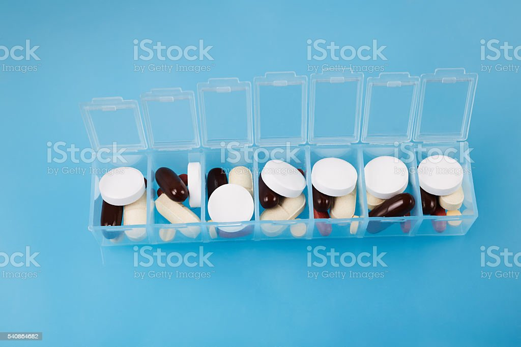 weekly medicine box stock photo