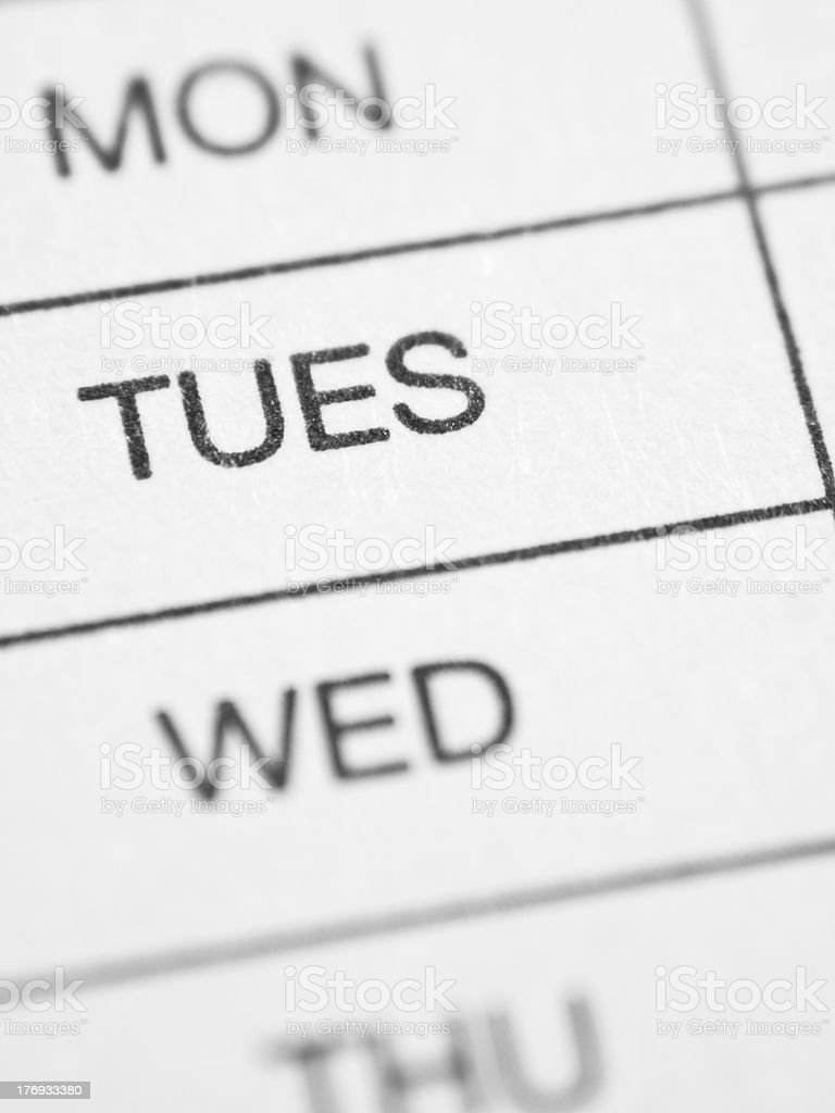 Weekly report form (TUESDAY) stock photo