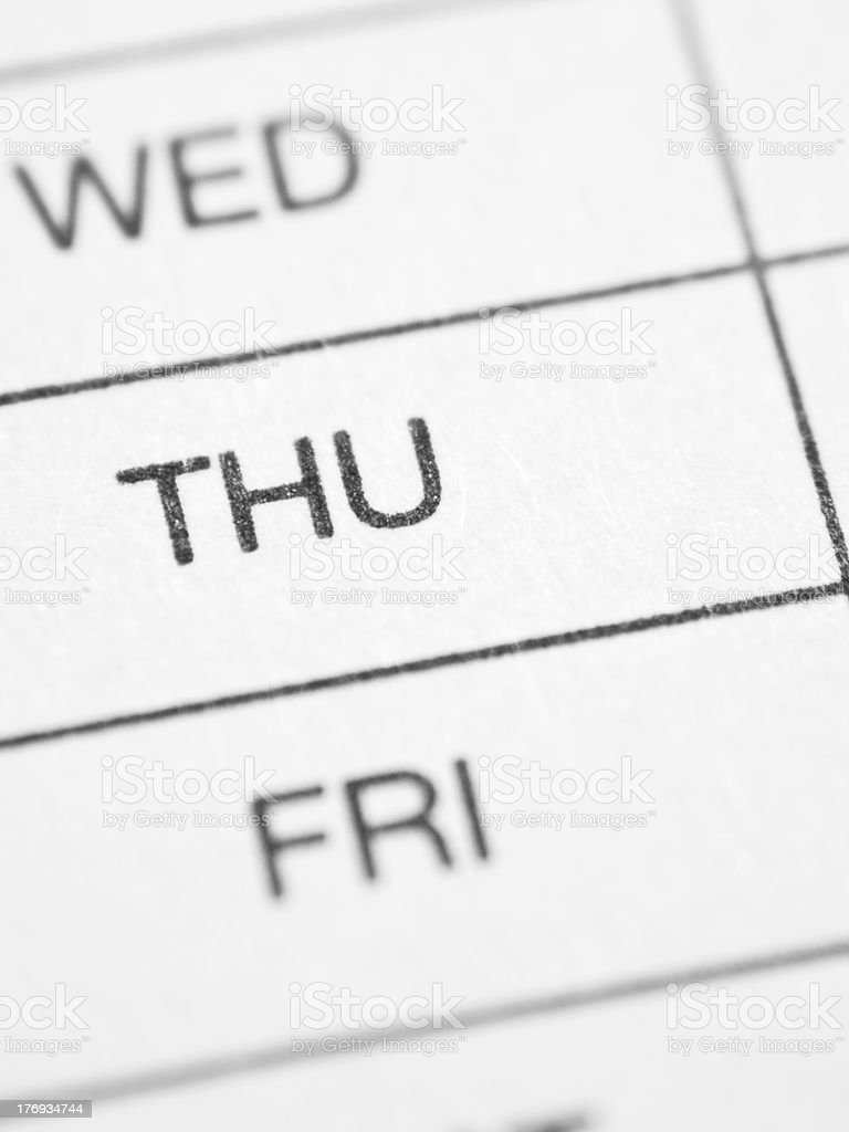 Weekly report form (THURSDAY) stock photo
