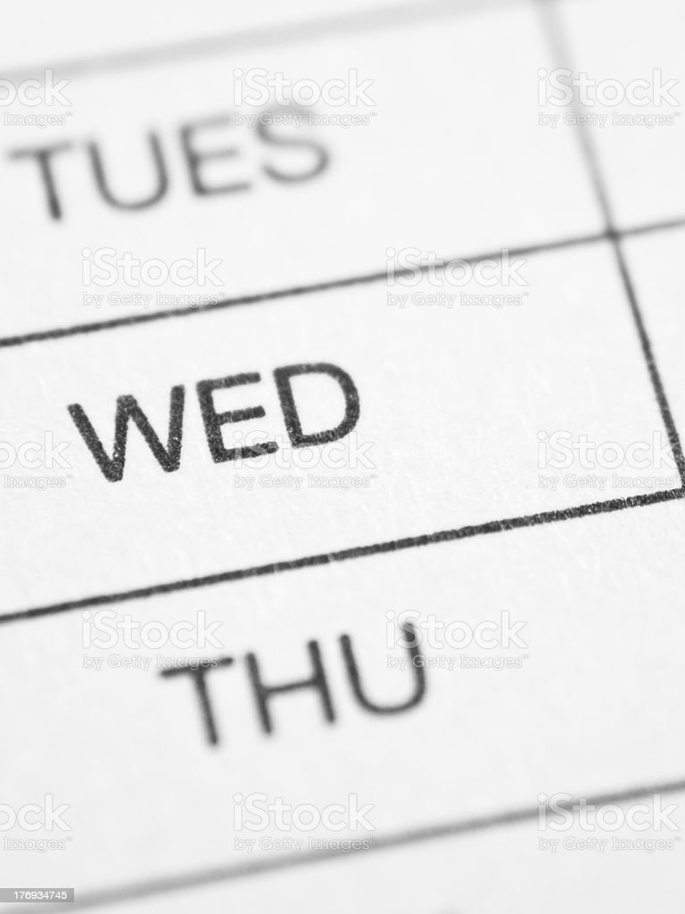Weekly report form (WEDNESDAY) stock photo