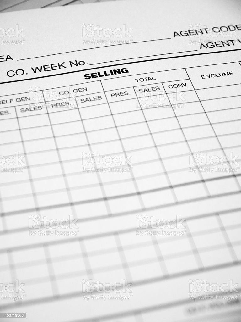 Weekly report form (SELLING) stock photo