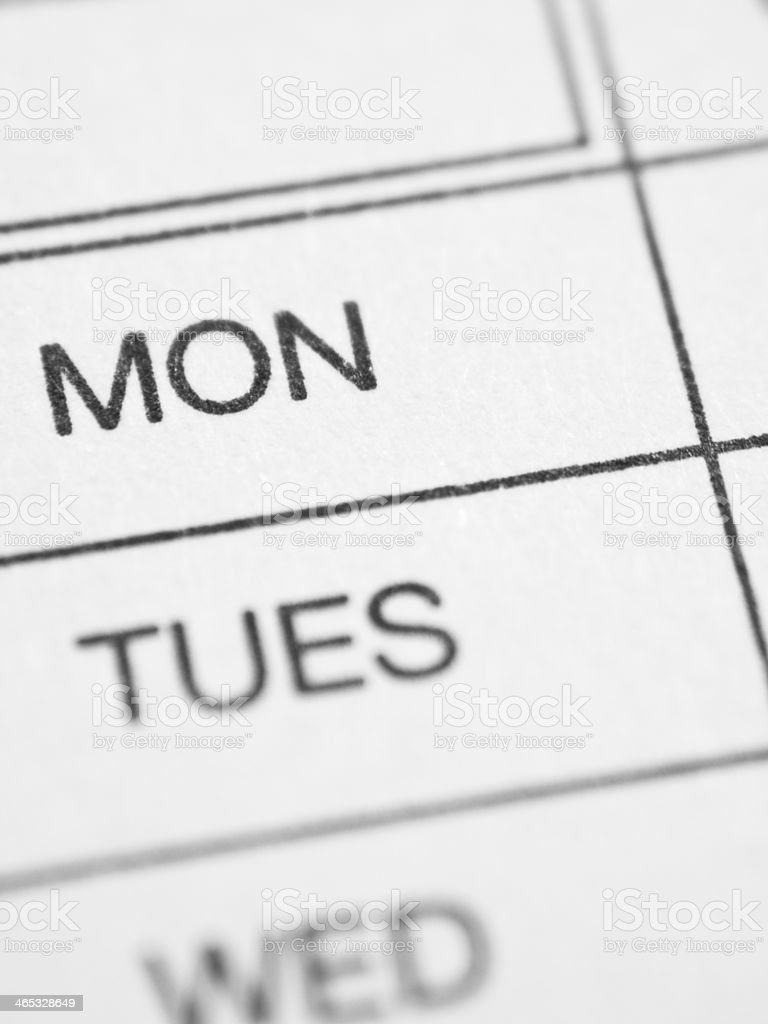 Weekly report form (MONDAY) stock photo