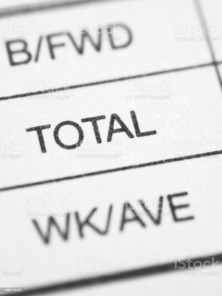 Weekly report form (TOTAL) stock photo