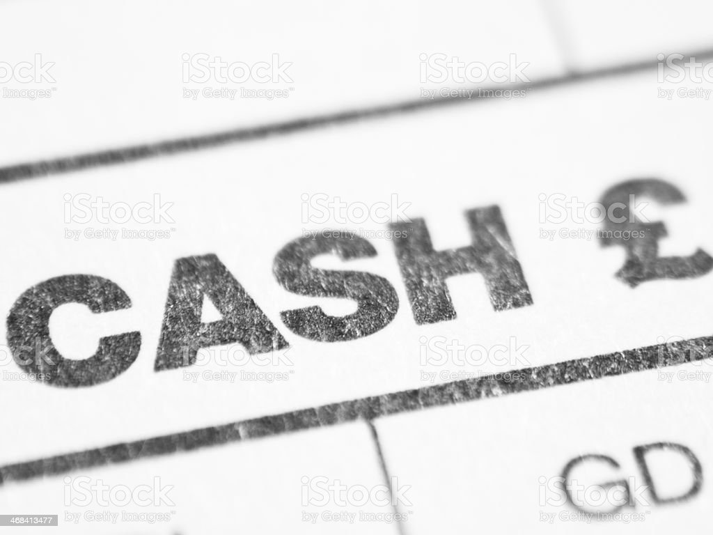 Weekly report form (CASH Ł) stock photo