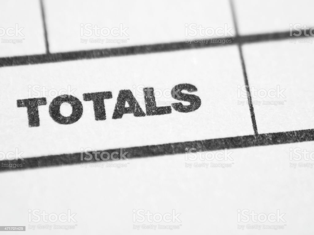 Weekly report form (TOTALS) stock photo