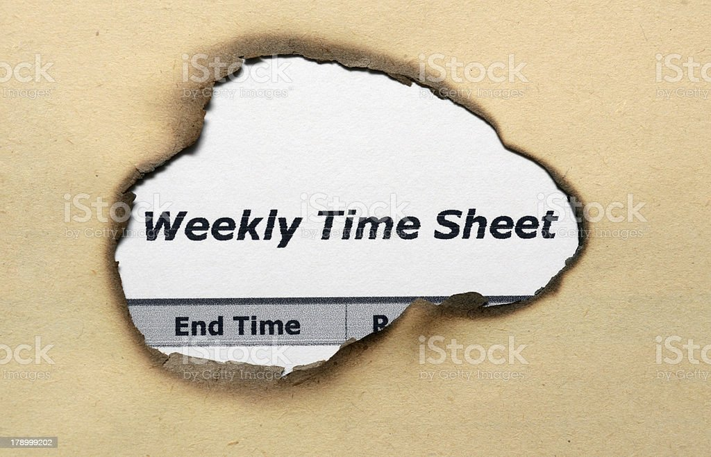 Weekly time sheet royalty-free stock photo